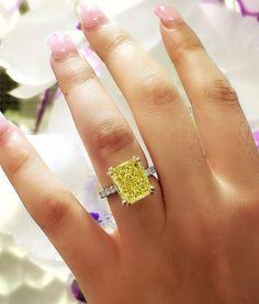 Yellow Diamond Engagement Ring, Cushion Cut Diamond Ring, Yellow Diamond Rings, Cushion Cut Engagement Ring, Cushion Cut Diamonds, Radiant Cut Diamond, Diamond Cuts, Canary Diamond, Just In Case