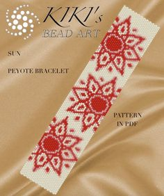 Pattern for bracelet, Peyote Sun peyote bracelet cuff pattern in PDF instant download
