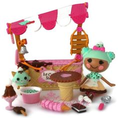 Lalaloopsy Mini Dolls❀SCOOPS SERVES ICE CREAM SHOPPE❀COMPLETE 10 PC LOT❀PLAYSET❀