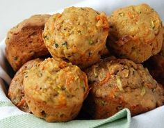 Carrot/zucchini muffins - recipe fills one mini muffin pan. Lightly coat muffin tin w/ olive oil, bake 25 min (no time reduction) for minis. Can cut sugar a bit. Zucchini Muffin Recipes, Zucchini Muffins, Recipe Zucchini, Healthy Snacks, Healthy Eating, Healthy Recipes, Healthy Muffins, Snack Recipes, Dinner Recipes
