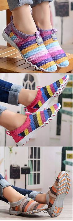 US$19.72 Big Size Rainbow Colorful Striper Mesh For Women Breathable Slip On Flat Sport Shoes