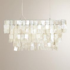 The shimmering waterfall effect of our Rectangular Natural Capiz Hanging Pendant Lantern is achieved by carefully trimming and stringing capiz seashell pieces Capiz Chandelier, Lantern Pendant Lighting, Pendant Light Fixtures, Pendant Lamp, Chandeliers, House Lighting, Bathroom Lighting, Room Lights, Ceiling Lights