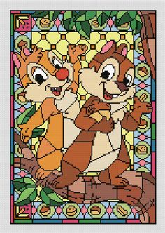 Disney cross stitch pattern Chip and Dale cross stitch pattern