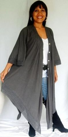 GREY TOP BLOUSE JACKET LACE ASYM - FITS (ONE SIZE) - L XL 1X 2X - J978S LOTUSTRADERS LOTUSTRADERS. $49.99