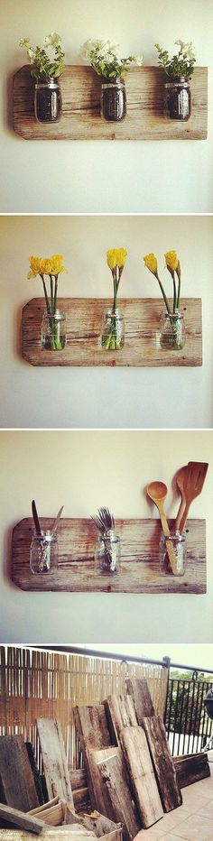 Home Decor with Mason Jars and Reclaimed Wood