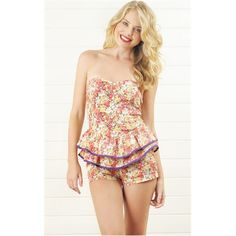 Purple Multi Floral Ruffle Romper