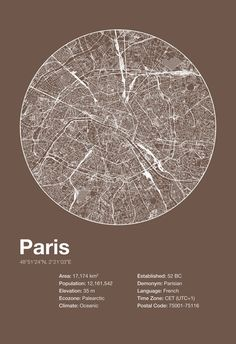 Street Map Art City Print Paris France by EncoreDesignStudios