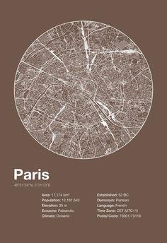 Street Map Art City Print Paris France by EncoreDesignStudios