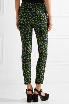 Prada - Floral-print Stretch-cotton Skinny Pants - Midnight blue - IT42