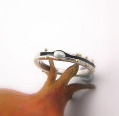 Pearl sterling silver ring organic band matte by nikiforosnelly, $59.00