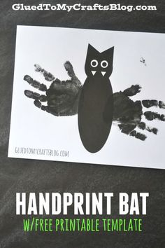 Handprint Bat Kid Craft Idea w/free printable template