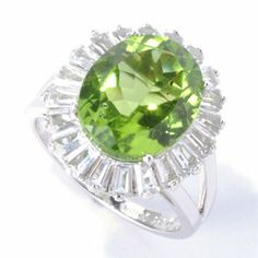 Gem Insider Sterling Silver 6.00ctw Oval Peridot & White Topaz Ring