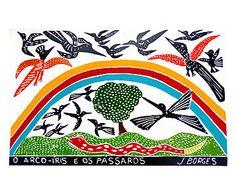 Xilogravura O Arco-Íris e os Pássaros - 65X47cm
