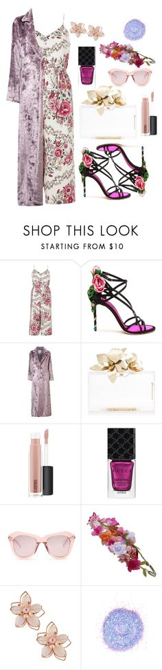 """""""Untitled #421"""" by stocheciusara ❤ liked on Polyvore featuring River Island, Dolce&Gabbana, Rosie Assoulin, MAC Cosmetics, Gucci, Karen Walker, Accessorize, NAKAMOL and The Gypsy Shrine"""