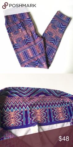 Lularoe OS Leggings NWOT Print - tribal like with purple, blue and neon! Beautiful! NWOT. Never been worn or washed or tried on. Last pic shows how it looks on the front. One size fits 2-10 comfortably. Bundle and save. Pls check at my listing for more unicorns and Disney! LuLaRoe Other