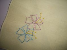 Hand Embroidered Napkin Set of 4 Yellow Floral by CottageDayDreams
