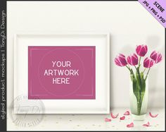 Styled White Table with Pink Tulips & Gold Confetti   8x10 White Landscape Frame Mockup   Styled Stock Photography   JPG PNG Smart object