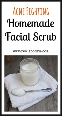 Acne Fighting Homemade Facial Scrub. Only a few non-toxic ingredients that you can find in your cupboards. Exfoliates, fights acne, and won't dry out your skin. I use it every night! Plus, it is really inexpensive to make. Much less than those expensive acne treatments! realfoorn.com