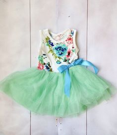 Girls Tutu Dress Floral Girls Dress by IsabellaCoutureShop
