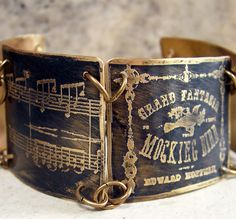 ❥ Etched Brass Bracelet Antique Sheet Music