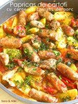 Papricas-de-cartofi-cu-carne-si-carnati-de-porc-1 Romanian Food, Kung Pao Chicken, Paella, Stew, Favorite Recipes, Meat, Cooking, Ethnic Recipes, Soups
