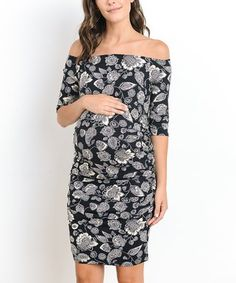 76fbb83d45900 Hello Miz Maternity | Black & Ivory Paisley Maternity Off-Shoulder Dress  Baby Shower Dresses