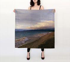 Lake Superior Agawa Bay Cloudy Sky Large Square Silk Scarf