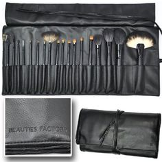 Beauties Factory  Professional Grade  18 Piece 2010 Premium Edition Makeup Brush Set with Protective Brush Roll  Black  536 ** You can get additional details at the image link.