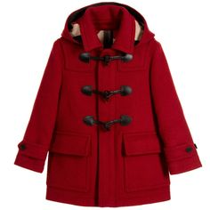 Burberry Girls Red Wool Hooded Duffle Coat at Childrensalon.com