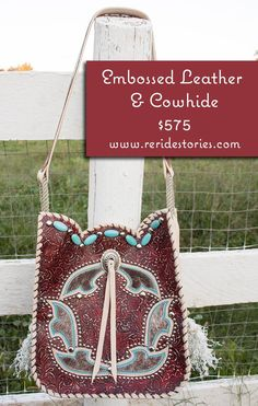 Red Embossed Leather Purse with Cowhide by ReRideStories on Etsy