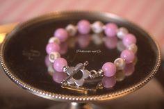 Bracelet Pink Jade and Giraffe Print Breast by PickleStiksandCo, $20.00