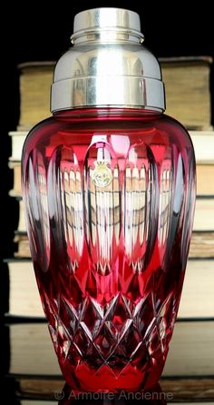 BUY on ETSY: Rare Ruby Red Lead Crystal Cocktail Shaker