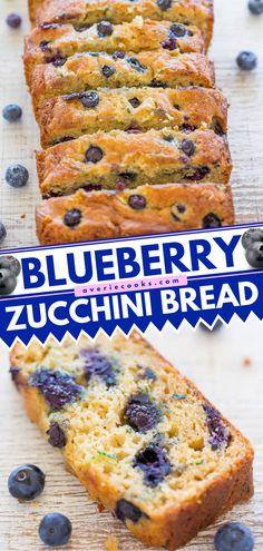 Blueberry Zucchini Bread Recipe (Easy & Moist!) - Averie Cooks Blueberry Zucchini Bread, Zucchini Bread Recipes, Easy Bread Recipes, Quick Bread, Banana Bread, Baking Cookbooks, Sweet Breakfast, Bread Baking, Quick Easy Meals