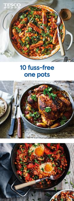 10 one-pot wonders Maximum flavour with minimal washing up is the rule of these hearty one-pot recipes. Choose between veg-filled soups, impressive pot pies and classic casseroles. Slow Cooker Recipes, Cooking Recipes, Healthy Recipes, Vegetarian Recipes Uk, Healthy One Pot Meals, Tesco Real Food, One Pot Dishes, Pot Pies, Dinner Recipes