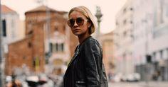 Liked on Pinterest: Distressed Denim  Cropped Leather Jacket  Aviator Sunglasses  Gucci Slides | Street Style | Nina Suess: Via Giacomo Pinaroli