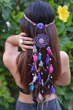 Delilah Bohemian Headband-pink and purple dream catcher headband … Mais Purple Dream Catcher, Look Boho Chic, Dream Catcher Craft, Dream Catchers For Sale, Dream Catcher Bracelet, Beautiful Dream Catchers, Bohemian Headband, Feather Headband, Hippie Gypsy