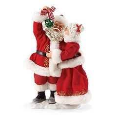 "Department 56 Possible Dreams Santa Claus ""Mistletoe Kisses"" Clothtique Christmas Figurine -- For more information, visit image link. (This is an affiliate link) Santa Figurines, Christmas Figurines, Collectible Figurines, Christmas Ornaments, Christmas Couple, Christmas Holidays, Merry Christmas, Christmas Decorations, Xmas"