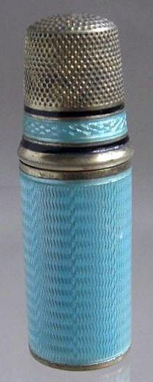 antique silver & enamel needle case and thimble lid.