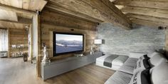 Elegant Chalet Design in French Alps that Can Pamper Your Senses: Comfortable Living Room Interior Design Idea Applied In Chalet Eden Design. Chalet Interior, Interior Exterior, Interior Design Living Room, Wood House Design, Stone Wall Design, Chalet Design, Living Tv, Home Living Room, Living Area