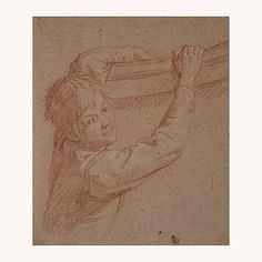 Study of a young boy, Florentine school, 17th century. Red and white chalk on brown laid paper, 20.9 x 17.9 cm. Courtesy Galerie Grand-Rue Marie-Laure Rondeau