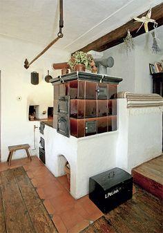 Domek s vůní kávy Cooking Stove, Rocket Stoves, Cottage Interiors, Design Case, Vintage Kitchen, Hearth, Fireplaces, Pergola, Architecture
