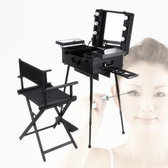 dcbe84ecb makeup station Picture - More Detailed Picture about Free shipping to  Europe, India, UK, 1set/lot, Black lighted makeup station with portable  chair Picture ...