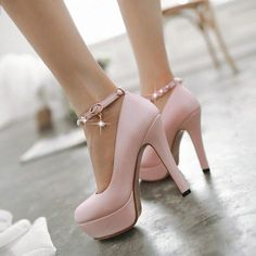 6218b3716cb Pink Ankle Strap Heels Stiletto Heels Rhinestone Heels Platform Pumps