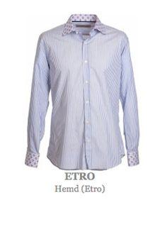 Hemd vom italienischen Luxusmodelable Etro. Langärmeliges, leicht tailliert geschnittenes Oberhemd mit klassischem Kragen und durchgehender Knopfleiste. Hemdkragen und Manschetten sowie Knopfleiste in  kontrastfärbigem Stoff, in sich gemustert. Material:  100% Baumwolle