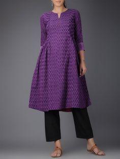 Buy Purple Ikat Handwoven Cotton Kurta with Embroidered Sleeves Women Kurtas Online at Jaypore.com