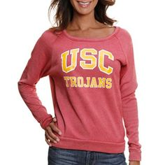 USC Trojans Ladies Rachel Pullover Crew Sweatshirt - Cardinal