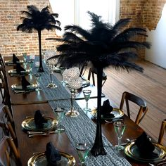 Black And Gold Centerpieces, Gold Wedding Centerpieces, Wedding Decorations, Table Centerpieces, Christmas Decorations, Masquerade Party Centerpieces, Ostrich Feather Centerpieces, Eiffel Tower Vases, Gatsby Party