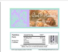 Seashell Damask wedding candy bar wrapper Lavender and mint