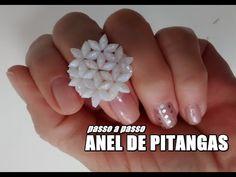 DIY: Anel pitanga ♡Joana D'arc - YouTube Beaded Chocker, Beaded Clutch, Beaded Rings, Beading Tutorials, Beading Patterns, Bead Jewellery, Jewelry Art, Beaded Necklace Patterns, Diy Crafts Jewelry