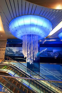 "Dubai Metro - The beautiful Water lighting sculpture graces the ceilings of the Khalid Bin Al Waleed Station. Two parts make up Water, which has come to be coined ""a giant jellyfish"" by the public."